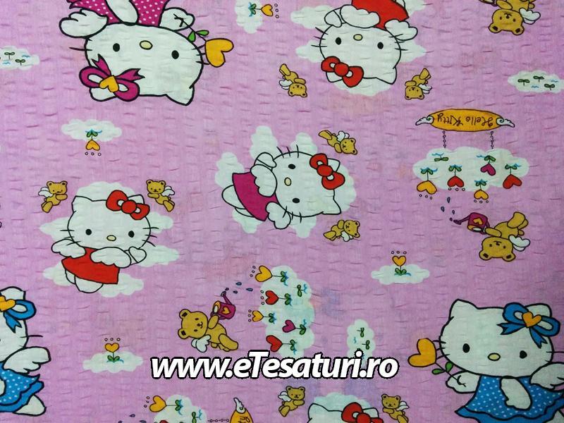 bumbac creponat Hello Kitty